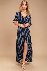Sun-Kissed Days Navy Blue Striped Maxi Dress
