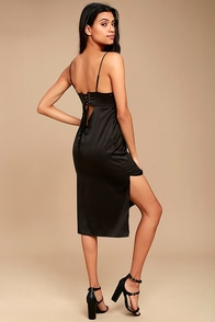 Keeps Gettin' Better Black Satin Midi Dress