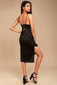 Keeps Gettin' Better Black Satin Midi Dress