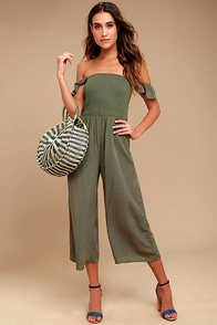 Willa Olive Green Off-the-Shoulder Midi Jumpsuit