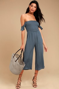 Willa Denim Blue Off-the-Shoulder Midi Jumpsuit