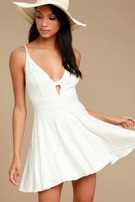 Lucy Love Slay White Skater Dress