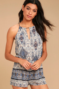 Bold Moves Navy Blue Print Romper