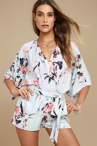 Paraiso Light Blue Print Romper