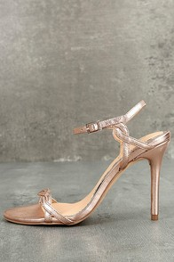 Jewel by Badgley Mischka Hepburn II Rose Gold Leather Heels