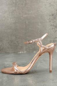 Jewel by Badgley Mischka Hepburn II Rose Gold Leather Heels