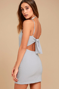 Toast to Life Grey Mini Dress