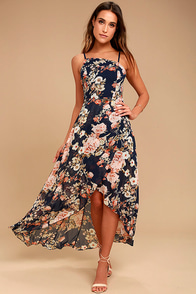 Reflection Navy Blue Floral Print High-low Dress