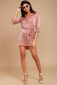 Business as Usual Rusty Rose Long Sleeve Shirt Dress