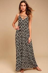 Sightseeing Safari Brown Print Maxi Dress
