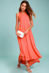 ASTR the Label Victoria Coral Pink Lace-Up Midi Dress