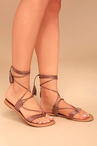 Theola Mauve Suede Lace-Up Sandals