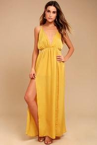 Uncharted Waters Mustard Yellow Satin Maxi Dress