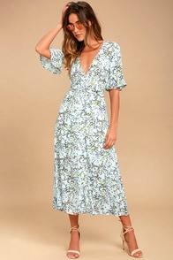Somedays Lovin' Woodland Days Light Blue Floral Print Midi Dress