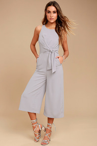 On Track Grey Midi Jumpsuit