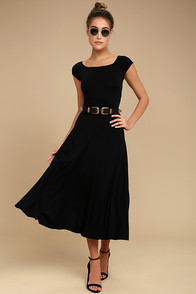 A La Mode Black Midi Dress