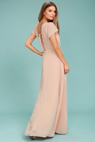 World on a String Blush Lace-Up Maxi Dress