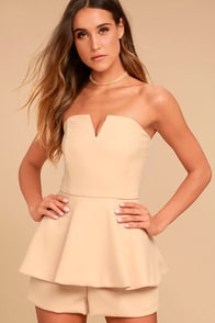 Where You Are Nude Strapless Romper