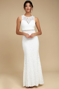 Music of the Heart White Lace Maxi Dress
