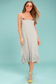 Nature's First Light Grey Embroidered Midi Dress
