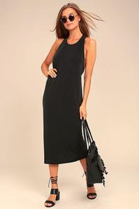 On the Veranda Washed Black Midi Dress