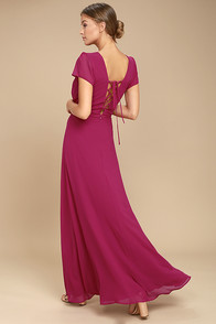 World on a String Magenta Lace-Up Maxi Dress