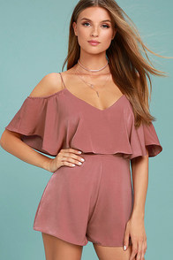 Daily Soiree Rusty Rose Off-the-Shoulder Romper