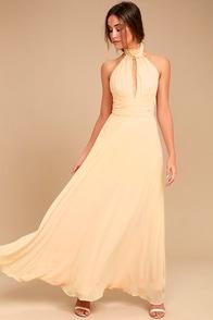First Comes Love Light Beige Maxi Dress