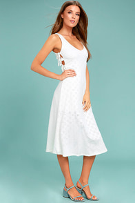 Lucy Love Latin Quarter White Lace Midi Dress