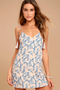 Down by the Water Beige Print Shift Dress