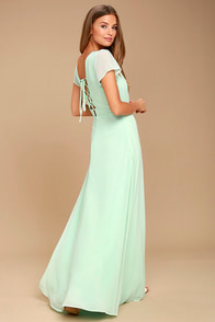 World on a String Mint Green Lace-Up Maxi Dress