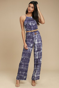 Lucy Love Gangsta of Love Indigo Print Jumpsuit
