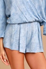 Sweet Skylight Periwinkle Blue Print Shorts