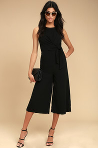 On Track Black Midi Jumpsuit