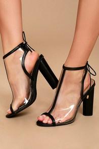 Hadya Black Lucite Peep-Toe Booties