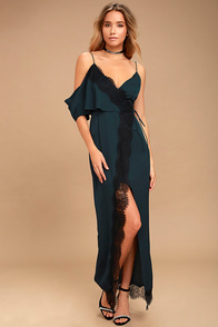 Keepsake Stop Me Navy Blue Lace One Shoulder Maxi Dress