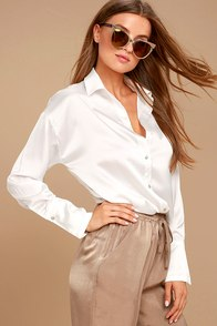 Sheen on Me White Satin Button-Up Top