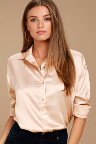 Sheen on Me Blush Satin Button-Up Top