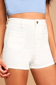 MINKPINK Escape White High-Waisted Denim Shorts