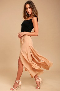 Breeze Away Beige Midi Skirt