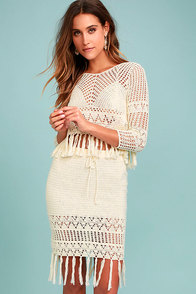 MINKPINK Henna Cream Crochet Pencil Skirt