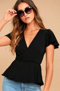 Modern Gal Black Wrap Top