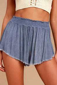 Darrah Denim Blue Print Shorts