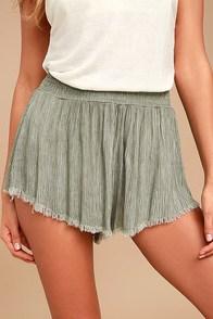 Darrah Olive Green Print Shorts