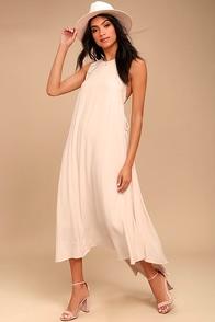 ASTR the Label Victoria Light Beige Lace-Up Midi Dress