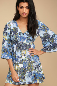 Jack by BB Dakota Faira Blue Floral Print Dress