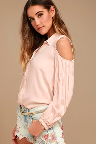 Love Somebody Peach Long Sleeve Button-Up Top
