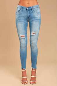 Feeling It Light Wash Distressed Skinny Jeans