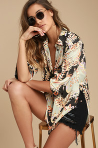 Free People Under the Palms Black Print Button-Up Top