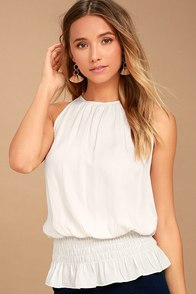 Cherished Memories Ivory Sleeveless Top